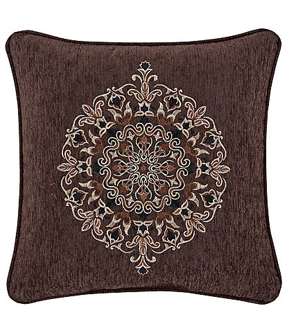 J. Queen New York Mahogany Chocolate 18#double; Damask Embroidery Square Pillow