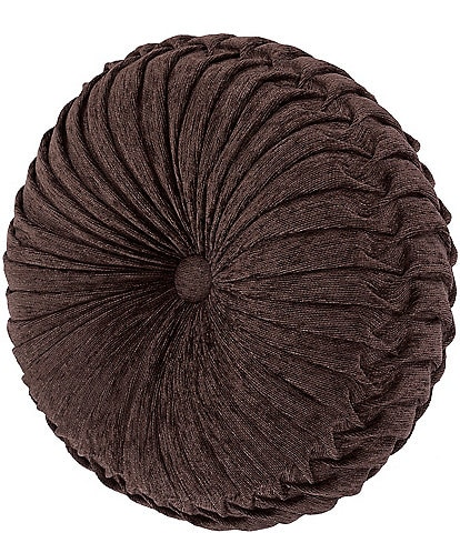 J. Queen New York Mahogany Chocolate Tufted Round Pillow