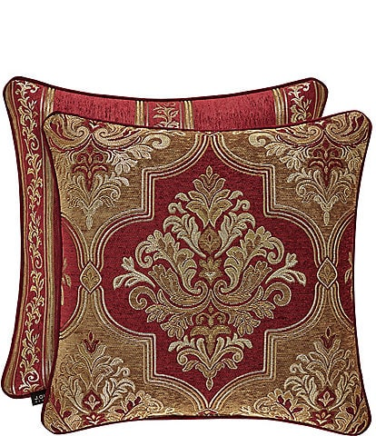 J. Queen New York Maribella Crimson Damask Square Pillow
