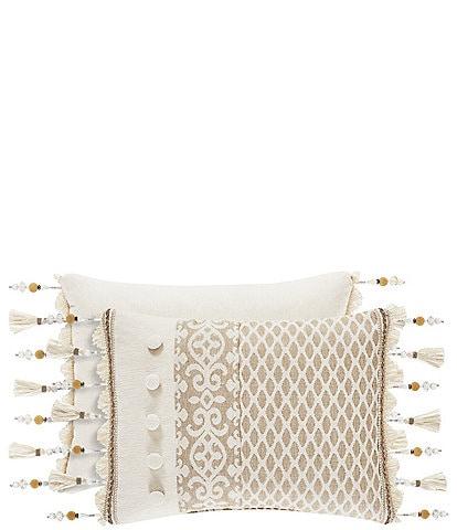 J. Queen New York Milano Sand Pieced & Fringed Boudoir Pillow