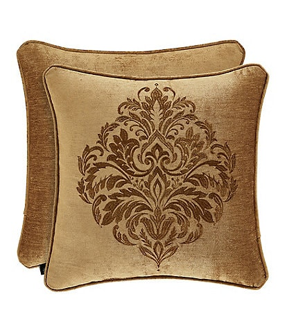 J. Queen New York Sicily Gold Embroidered Square Pillow