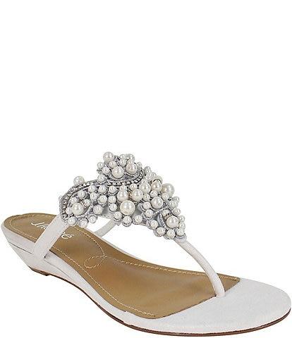 J. Renee Aleina Beaded Detail Wedge Dress Sandals