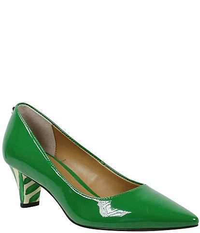 J. Renee Asilah Patent Kitten Heel Pumps