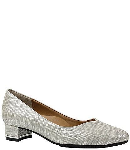 J. Renee Bambalina Lizard Print Patent Leather Block Heel Pumps