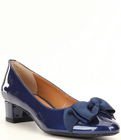 J. Renee Cameo Patent Bow Detail Block Heel Pumps