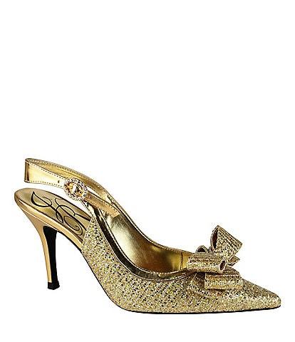 J. Renee Charise Glitter Fabric Bow Slingbacks