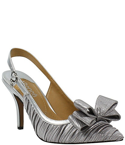 J. Renee Charise Pleated Metallic Satin Bow Sling Pumps