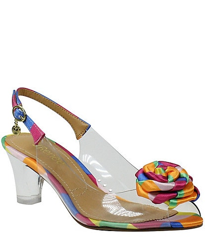 J. Renee Dailona Rosette Detail Peep Toe Slingback Pumps