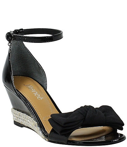 J. Renee Dariann Patent Bow Espadrille Wedge Ankle Strap Sandals