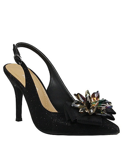 J. Renee Denyell Gliiter Flower Ornament Sling Pumps