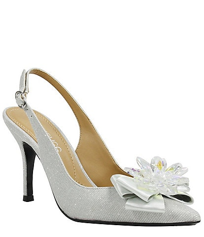 J. Renee Denyell Glitter Crystal Flower Bow Sling Pumps