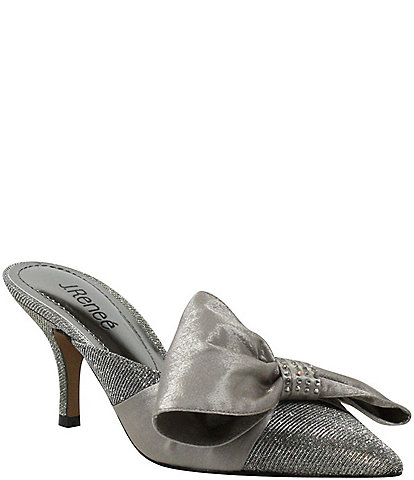 J. Renee Elonna Glitter Bow Detail Pointed Toe Mules