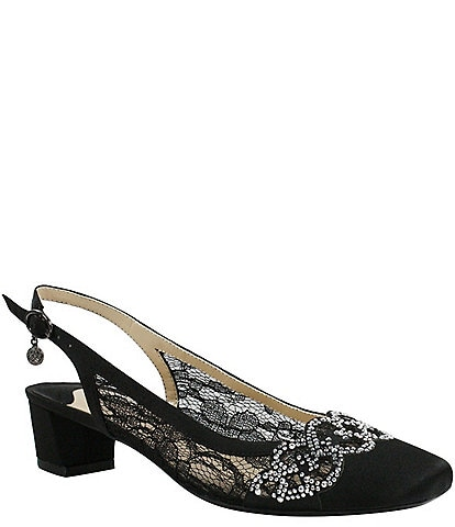 J. Renee Faleece Lace and Satin Slingback Block Heel Pumps