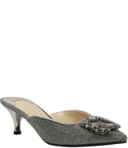 J. Renee Felecia Glitter Fabric Ornament Detail Kitten Heel Dress Mules