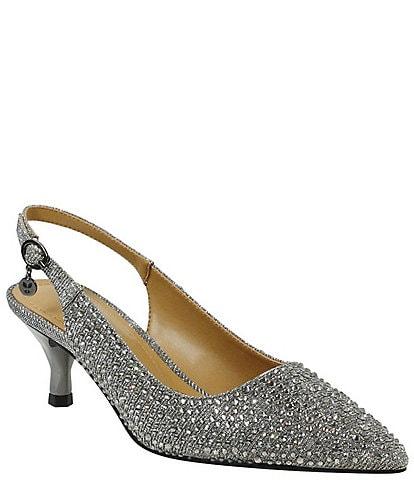 J. Renee Ferryanne Rhinestone Glitter Fabric Kitten Heel Slingback Pumps