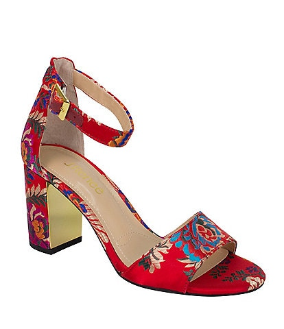 J. Renee Flaviana Floral Satin Dress Sandals