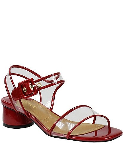 J. Renee Florencio Square Toe Patent and Clear Dress Sandals