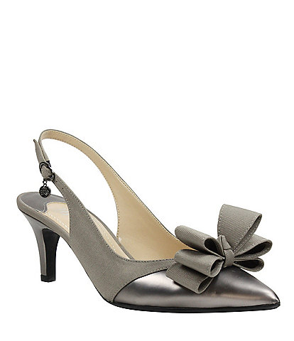 d8551786bb08 J. Renee Gabino Fabric Bow Detail Slingback Pumps