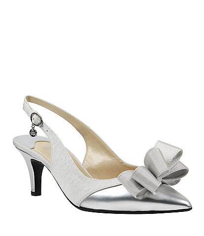 12290328547 J. Renee Gabino Fabric Bow Detail Slingback Pumps