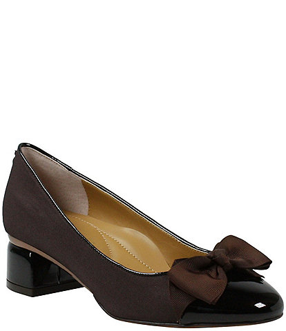 J. Renee Gelar Grosgrain Cap Toe Block Heel Bow Pumps