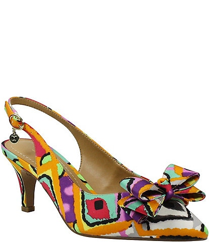J. Renee Gosalyne Retro Print Bow Detail Slingbacks