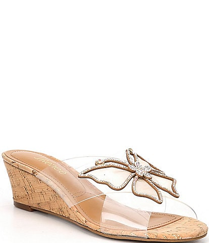 J. Renee Harita Rhinestone Studded Butterfly Detail Clear Wedge Sandals