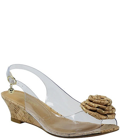 J. Renee Ikeisha Clear Cork Rosette Wedge Peep Toe Sling Pumps
