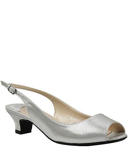 J. Renee Jenvey Satin Slingback Pumps