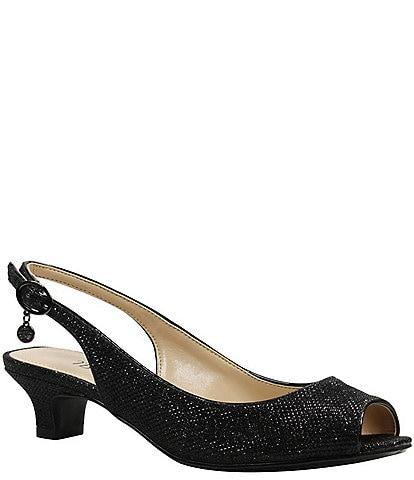 J. Renee Jenvey Glitter Slingback Peep-Toe Dress Pumps