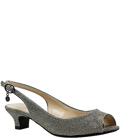 J. Renee Jenvey Glitter Slingback Peep-Toe Dress Pumps