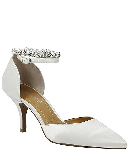 J. Renee Kenema Satin Jeweled Ankle Strap d'Orsay Pumps