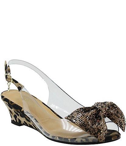 J. Renee Leana Leopard Print Clear Bling Bow Peep Toe Slingback Pumps