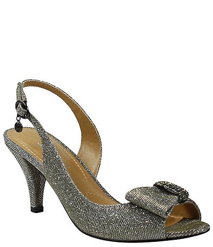 J. Renee Luanda Bow Detail Glitter Slingback Peep-Toe Pumps