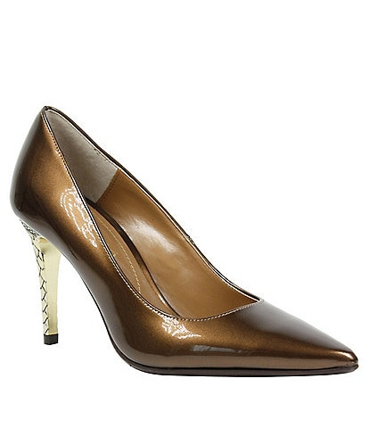 d8ec267a140 J. Renee Maressa Pearlized Patent Metal Embossed Heel Pumps