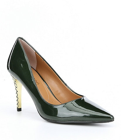 J. Renee Maressa Pearlized Patent Metal Embossed Heel Pumps