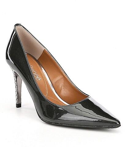 e8e2804f65a J. Renee Maressa Pearlized Patent Metal Embossed Heel Pumps