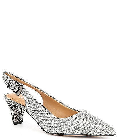 J. Renee Mayetta Embossed Heel Pointed Toe Glitter Slingback Pumps