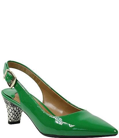 J. Renee Mayetta Patent Embossed Heel Sling Pumps