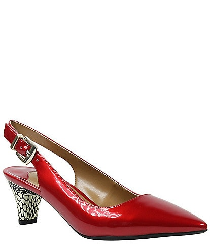 J. Renee Mayetta Slingback Pearlized Patent Dress Metal Heel Pumps