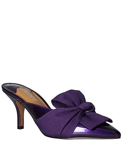 J. Renee Mianna Patent Faille Wrap Bow Detail Dress Mules