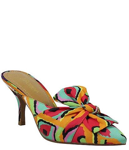 J. Renee Mianna Retro Print Fabric Bow Dress Mules