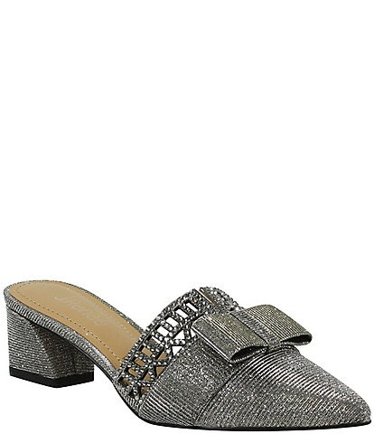 J. Renee Randa Rhinestone Embellished Bow Detail Dress Mules