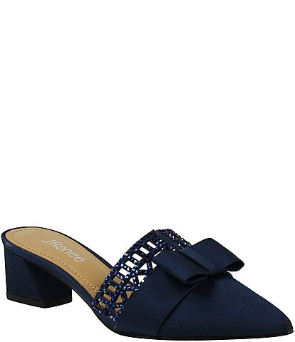 J. Renee Randa Satin Embellished Bow Mules