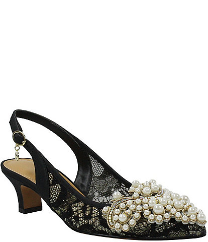 J. Renee Strovanni Floral Pearl Ornament Slingback Pumps