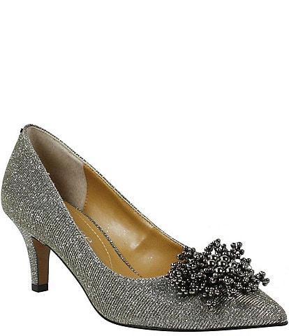 J. Renee Tacitha Glitter Fabric Beaded Ornament Pumps