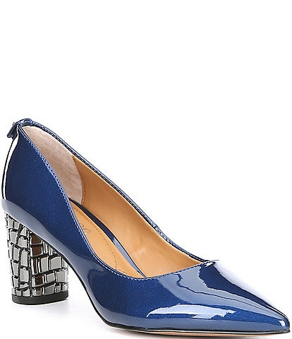 J. Renee Vaneeta Patent & Croco Embossed Metal Heel Pumps