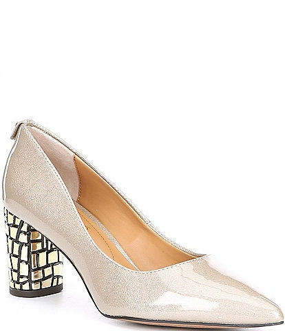 J. Renee Vaneeta Patent & Crocodile Embossed Heel Pumps