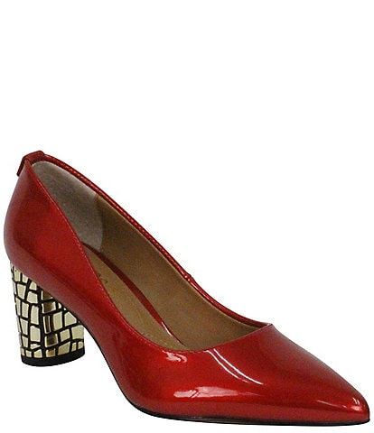 J. Renee Vaneeta Patent & Croc Embossed Metal Heel Pumps