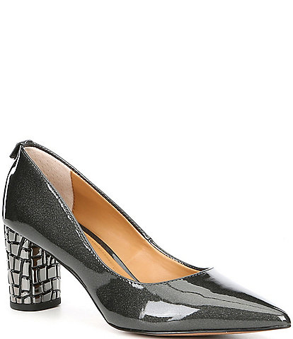 J. Renee Vaneeta Pearlized Patent Block Heel Pumps