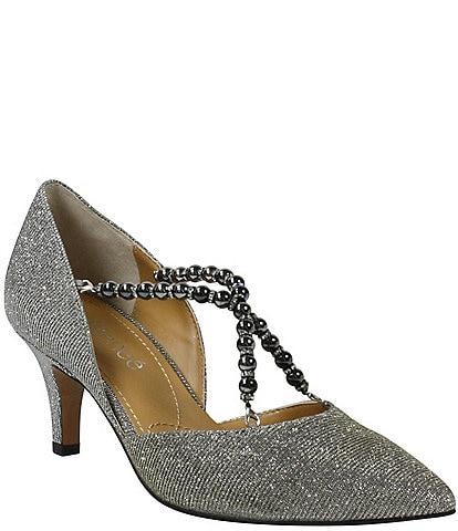J. Renee Zayna Pearl Bead Crisscross Strap Glitter Fabric Pumps